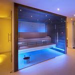 sauna finlandese / contract / in legno / in vetro temprato