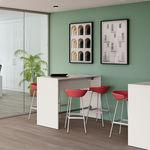 tavolo alto moderno / in melamminico / con supporto in metallo / tondo