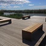 panca pubblica / design minimalista / in legno / in acciaio galvanizzato