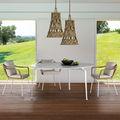 Tavolo da pranzo moderno / in gres porcellanato / con supporto in alluminio / rettangolare