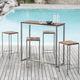 tavolo alto moderno / in legno oliato / in acciaio / in acciaio inossidabile spazzolato