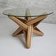 tavolino basso design originale / in vetro temprato / con supporto in legno massiccio / con supporto in bambù