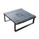 tavolino basso in stile rustico / in frassino / con supporto in acciaio / quadrato
