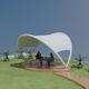 tensostruttura su ossatura metallica / ad arco / per tettoia / per spazi pubblici