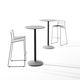 tavolo alto moderno / in laminato / con supporto in metallo / tondo