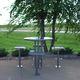 tavolo da pranzo moderno / in acciaio / tondo / contract