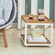 tavolo d'appoggio moderno / in teak / in alluminio / in calcestruzzo