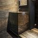 lavabo da terra / quadrato / in pietra naturale / moderno