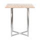tavolo alto moderno / in teak / in acciaio inossidabile / quadrato