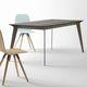 tavolo da pranzo moderno / in cristallo / in ceramica / con supporto in acciaio laccato