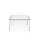 tavolino basso moderno / in vetro / con supporto in metallo / quadrato