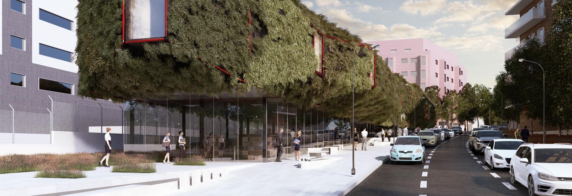Astronave spaziale verde: Biblioteca Vegetata per atterrare a Villaverde di Madrid