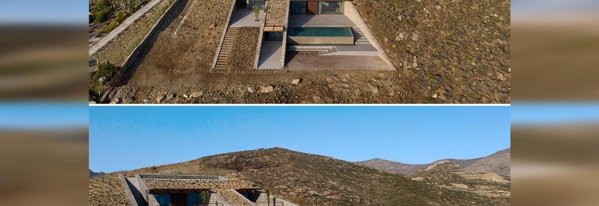 Una casa costruita sulle colline di quest'isola è quasi invisibile