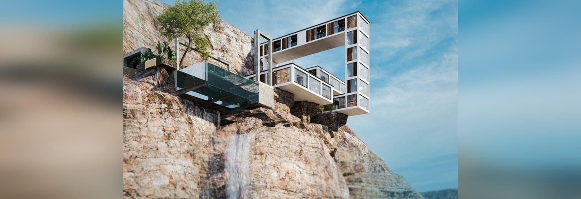 """La """"casa di montagna"""" a sbalzo di Milad Eshtiyaghi serpeggia su una scogliera in tre dimensioni"""