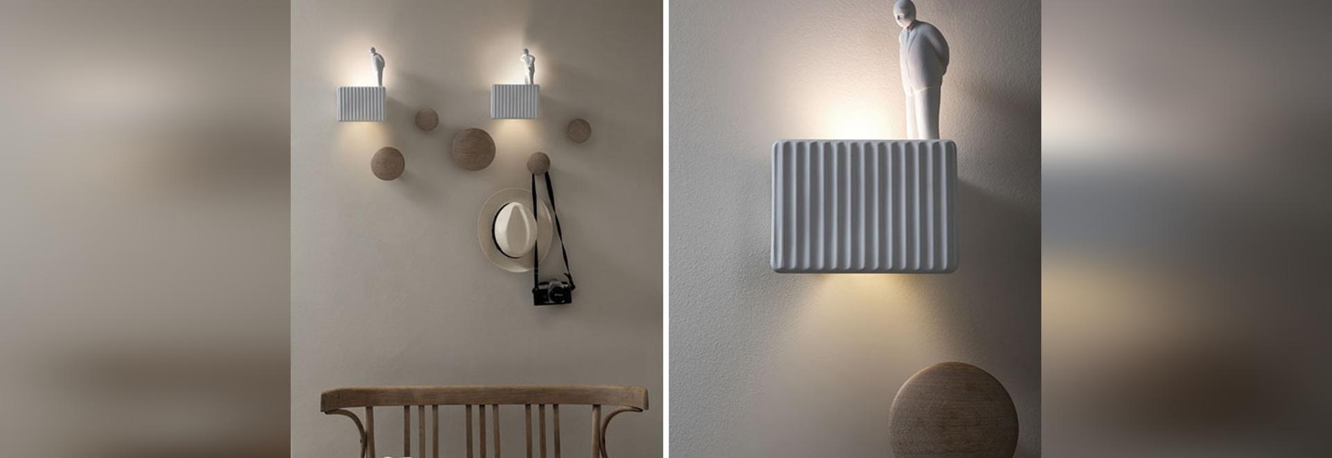 Questo design lampada da parete è stata ispirata da uomini italiani guardando il lavoro che viene fatto su un cantiere edilizio