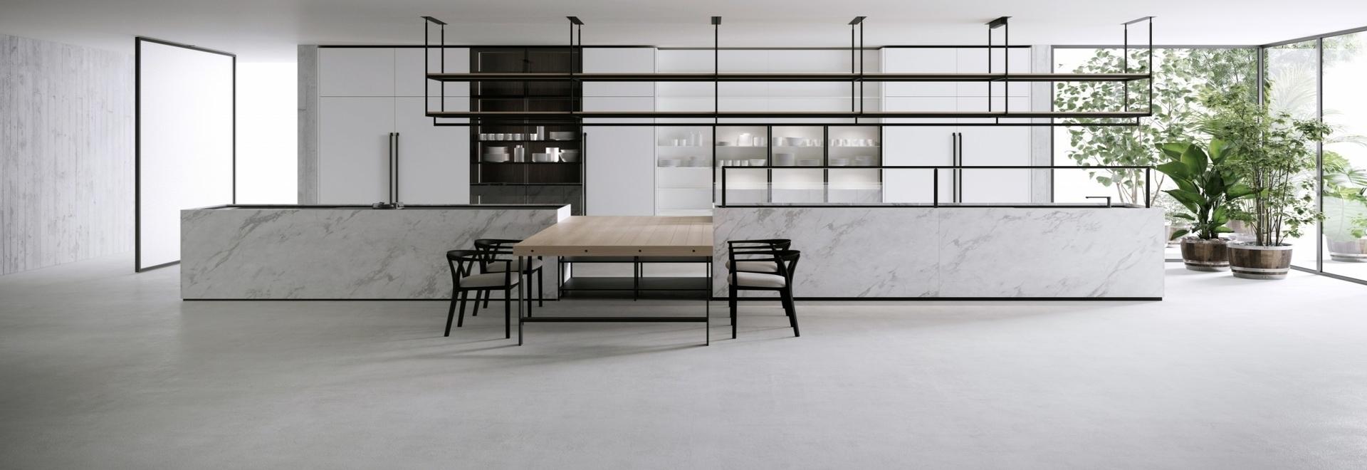 L'ultimo sistema di cucina e pranzo di Boffi chiamato Combine, disegnato da Pierro Lissoni.