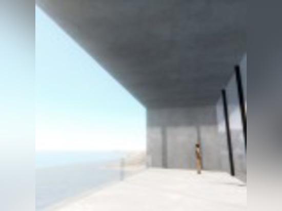 La casa di cliffside di lux con uno stagno del tetto è destinata per essere persona neutrale di energia