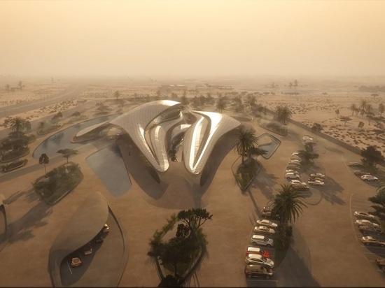 Zaha Hadid rivela l'animazione del HQ del deserto per azienda di gestione residua