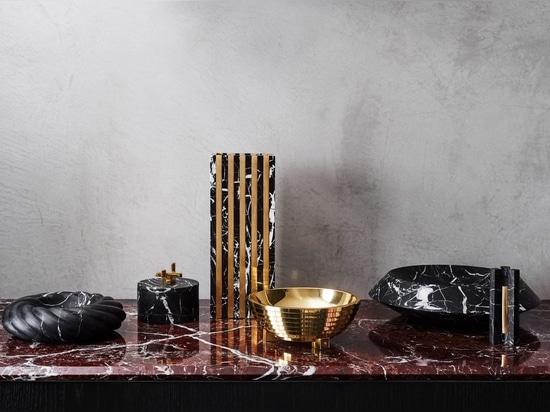 Greg Natale lancia la raccolta di marmo, delle coperture e degli accessori decorativi d'ottone
