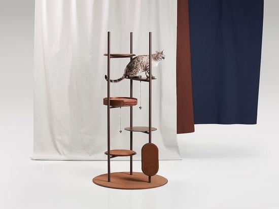 Un albero di gatto progettato per fondersi con gli interni delle moderne case contemporanee