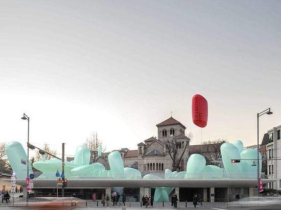 sknypl gonfia sculture per giardino urbano in tetto coreano