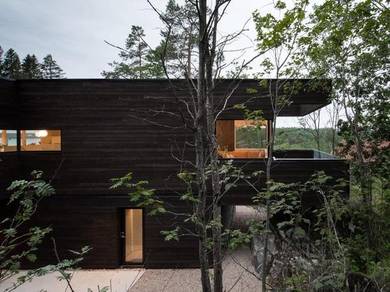 Aslak Haanshuus Arkitekter progetta una villa affacciata sul bosco in Norvegia