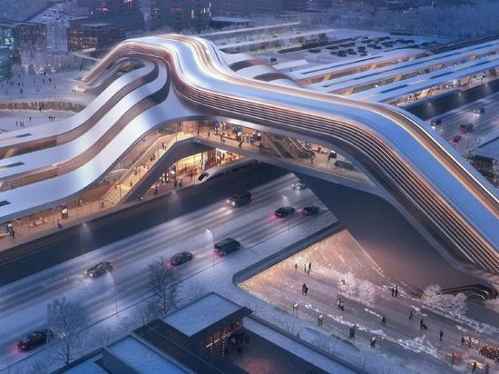zaha hadid architetti rivela tallinn terminale ferroviario che raddoppia come un ponte pubblico