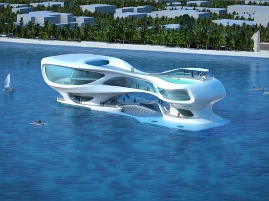 Fluttuante centro di ricerca marina ispirato dalle onde dello tsunami