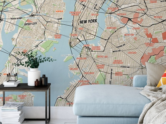 New York City murale mappa fumettistica