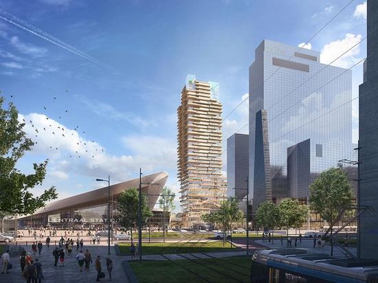 PLP Architecture Selezionati per progettare la torre in legno più alta d'Olanda con nucleo in calcestruzzo
