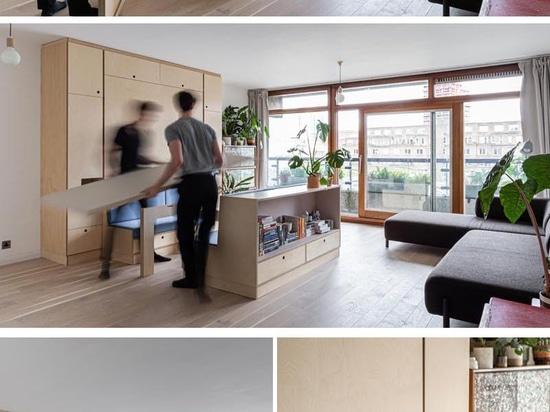 Mobili multifunzionali rendono questo piccolo appartamento uno spazio vivibile