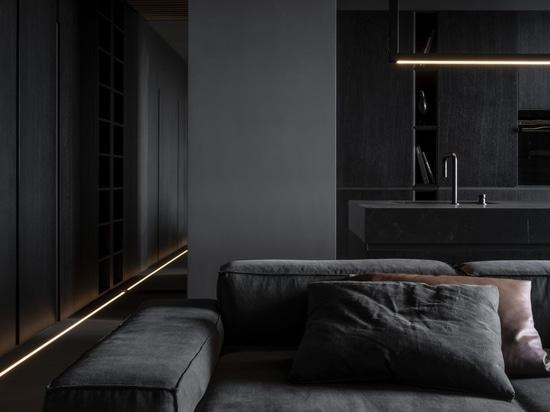 Un duo di appartamenti in Moldavia presenta un design d'interni a contrasto