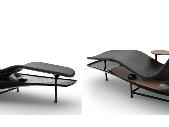 Sdraiatevi e rilassatevi nel vostro giardino zen con il concetto di chaise lounge Dhyan