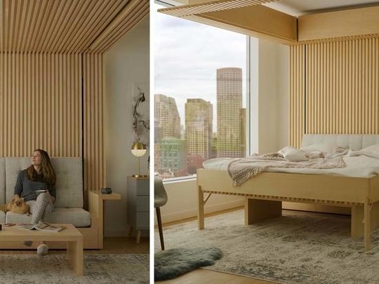 Questo letto che scende dal soffitto è stato progettato come soluzione per piccoli appartamenti