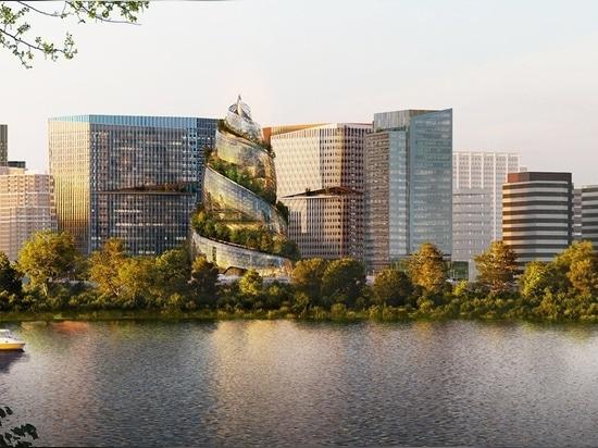 """Amazon svela l'""""elica"""" progettata da NBBJ come parte della sua sede di Arlington, Virginia"""