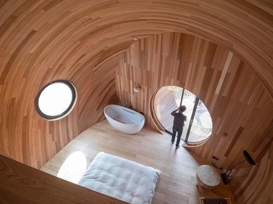 ZJJZ riveste le guest house ellissoidali in alluminio a specchio + scandole di pino nella Cina rurale