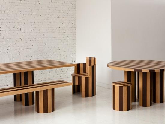 Tavolo da pranzo rettangolare Cooperage e panca, tavolo da pranzo rotondo e sgabello, e sedia (2019)