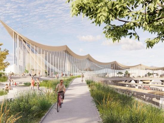 BIG svela il progetto per il Västerås Travel Center con soffitto in legno curvato