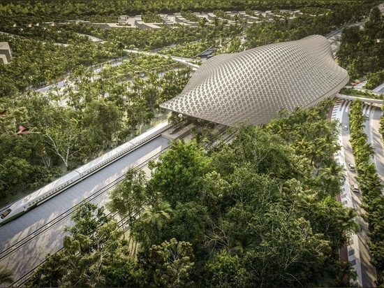 Aidia Studio sovrasta la stazione ferroviaria di Tulum con un tetto a traliccio
