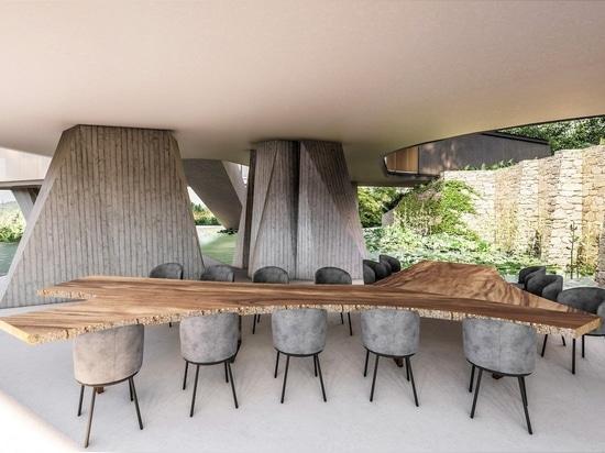 Spessi pilastri di calcestruzzo sostengono la casa Xingu di Tetro Arquitetura in Brasile