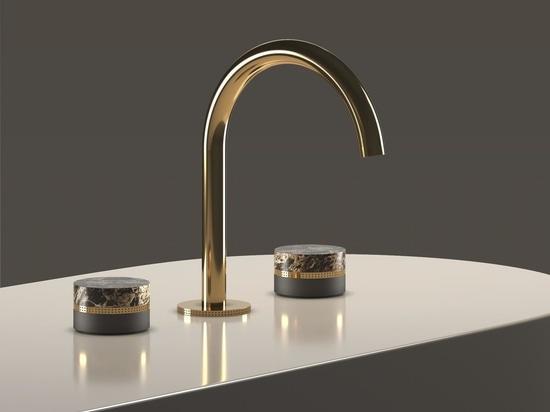 Maniglie per rubinetti Macaron progettate in collaborazione con lo studio Meneghello Paolelli Associati