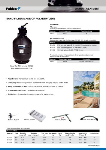Pool sand filters 405, 505, 605