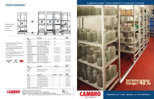 CAMSHELVING® HIGH DENSITY STORAGE SYSTEM