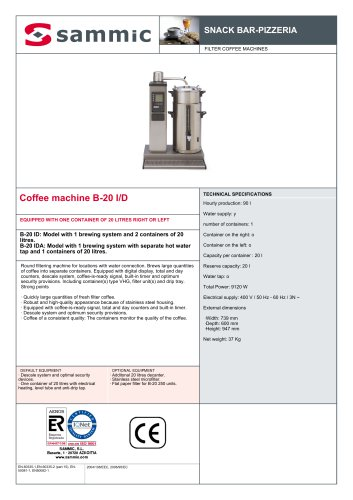 Coffee machine B-20 I/D