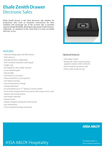 Zenith Drawer Product Sheet