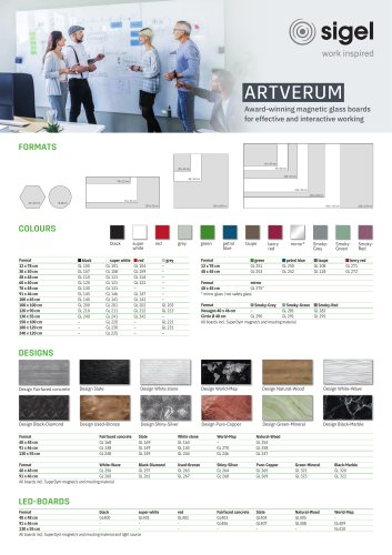 SIGEL Product Overview Artverum Magnetic Glass Boards