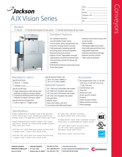 AJX-44 Conveyor   ENERGY STAR® Qualified - Single Tank - Electric or Steam Tank Heat