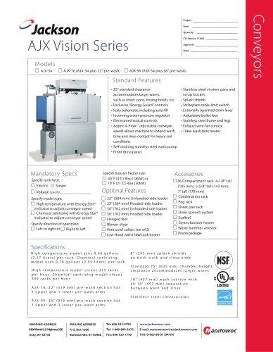 AJX-76 Conveyor   ENERGY STAR® Qualified - Single Tank - Electric or Steam Tank Heat - 22