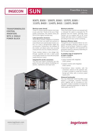 INGECON SUN PowerMax B 1000V series - Indoor/Outdoor