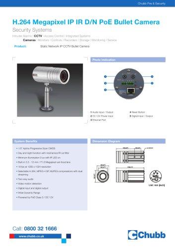 H.264 Megapixel IP IR D/N PoE Bullet Camera